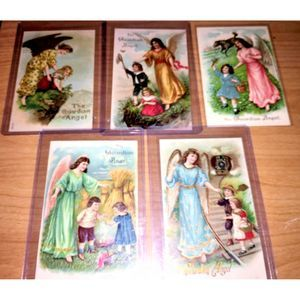 6 Antique Guardian Angel Postcards